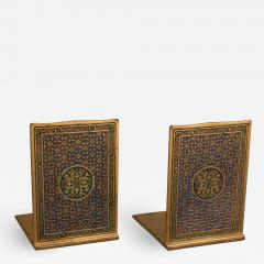 Tiffany and Co A Pair of Tiffany Gilt and Enamel Bookends in the Medallion Pattern 2028  - 1121458