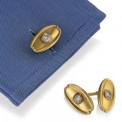 Tiffany and Co Antique Tiffany Co Diamond and Gold Cuff Links - 718013