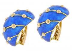 Tiffany and Co Jean Schlumberger for Tiffany Co Cobalt Blue Enamel Banana Earrings - 1094532