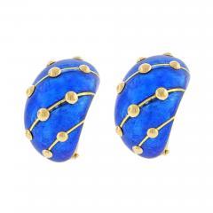 Tiffany and Co Jean Schlumberger for Tiffany Co Cobalt Blue Enamel Banana Earrings - 1094876