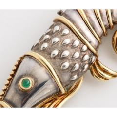 Tiffany and Co Tiffany Co 18K Gold and 925 Silver Lobster Shrimp Pin Brooch with Emerald - 1217857