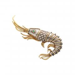 Tiffany and Co Tiffany Co 18K Gold and 925 Silver Lobster Shrimp Pin Brooch with Emerald - 1218758
