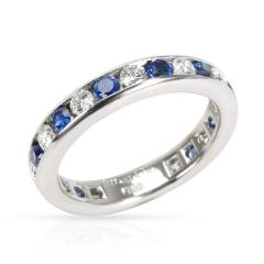 Tiffany and Co Tiffany Co Channel Set Diamond Sapphire Band in Platinum 0 6 CTW - 1284599