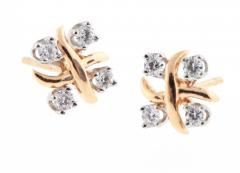 Tiffany and Co Tiffany Co Jean Schlumberger Lynn Diamond Pink Gold Platinum Earrings - 746998