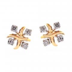 Tiffany and Co Tiffany Co Jean Schlumberger Lynn Diamond Pink Gold Platinum Earrings - 747033