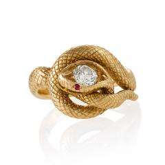 Tiffany and Co Tiffany Co Late 19th Century Diamond Ruby and Gold Serpent Ring - 718036