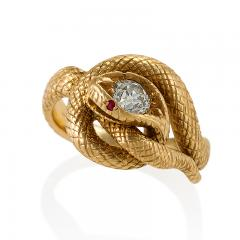 Tiffany and Co Tiffany Co Late 19th Century Diamond Ruby and Gold Serpent Ring - 718037