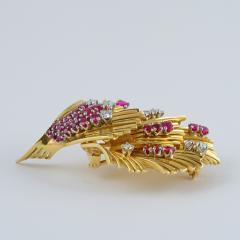 Tiffany and Co Tiffany Co Mid 20th Century Ruby Diamond and Gold Brooch - 1141187