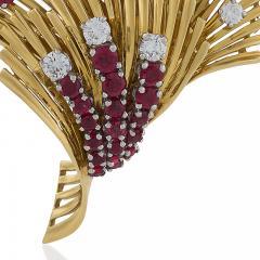 Tiffany and Co Tiffany Co Mid 20th Century Ruby Diamond and Gold Brooch - 1141188