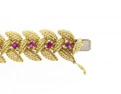 Tiffany and Co Tiffany Co Ruby Textured Gold 1950s Bracelet - 1094604
