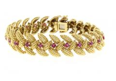 Tiffany and Co Tiffany Co Ruby Textured Gold 1950s Bracelet - 1094607