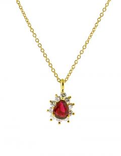 Tiffany and Co Tiffany Co Ruby and Diamond Pendant Necklace - 1136169