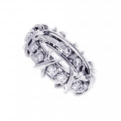 Tiffany and Co Tiffany Co Schlumberger 16 Stone Diamond Platinum X Ring - 1094877
