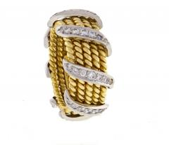 Tiffany and Co Tiffany Co Schlumberger Five Row Diamond Gold Wrap Band Ring - 746945