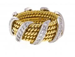 Tiffany and Co Tiffany Co Schlumberger Five Row Diamond Gold Wrap Band Ring - 746946