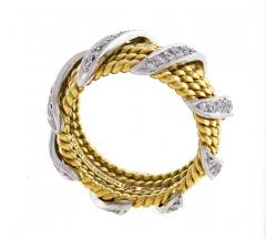 Tiffany and Co Tiffany Co Schlumberger Five Row Diamond Gold Wrap Band Ring - 746947