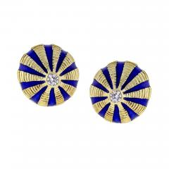 Tiffany and Co Tiffany Co Schlumberger Gold and Blue Enamel Large Taj Mahal Earrings - 1106917
