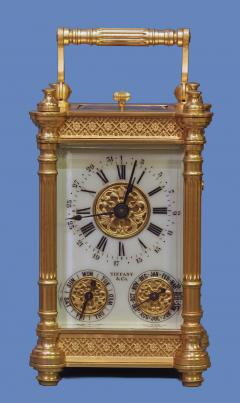 Tiffany and Co c 1900 French Gilt Bronze Carriage Clock with Calendar Dials - 1276554