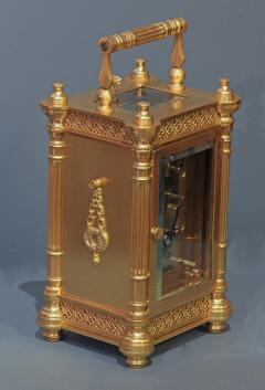 Tiffany and Co c 1900 French Gilt Bronze Carriage Clock with Calendar Dials - 1276569