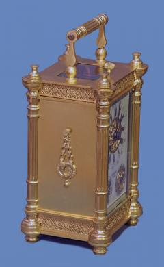 Tiffany and Co c 1900 French Gilt Bronze Carriage Clock with Calendar Dials - 1276570