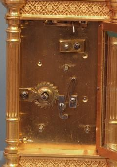 Tiffany and Co c 1900 French Gilt Bronze Carriage Clock with Calendar Dials - 1276571