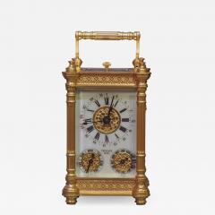 Tiffany and Co c 1900 French Gilt Bronze Carriage Clock with Calendar Dials - 1277570