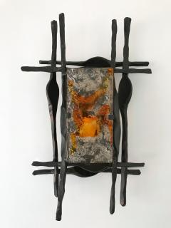 Tom Ahlstr m Hans Ehrich Pair of Brutalist Sconces Iron Murano Glass by Ahlstrom and Helrich 1970s - 898243