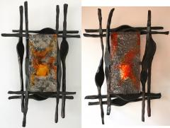 Tom Ahlstr m Hans Ehrich Pair of Brutalist Sconces Iron Murano Glass by Ahlstrom and Helrich 1970s - 898248