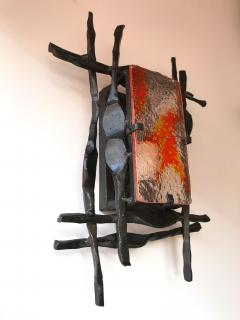 Tom Ahlstr m Hans Ehrich Pair of Brutalist Sconces Iron Murano Glass by Ahlstrom and Helrich 1970s - 898251