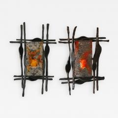 Tom Ahlstr m Hans Ehrich Pair of Brutalist Sconces Iron Murano Glass by Ahlstrom and Helrich 1970s - 901822