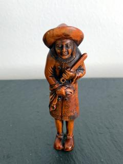 Tomotada Japanese Antique Netsuke of A Dutchman Signed Tomotada - 1119314
