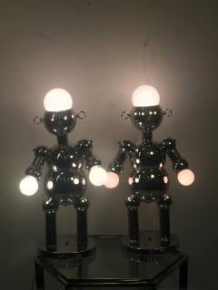 Torino Lamp Co GREAT PAIR OF MODERNIST CHROME ROBOT LAMPS BY TORINO - 678948