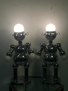 Torino Lamp Co GREAT PAIR OF MODERNIST CHROME ROBOT LAMPS BY TORINO - 678949