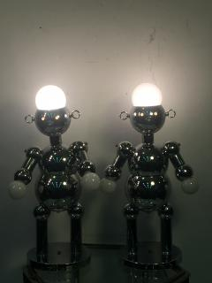Torino Lamp Co GREAT PAIR OF MODERNIST CHROME ROBOT LAMPS BY TORINO - 678951