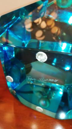 Toso Blue Crystal Faceted Table Lamp by Toso - 1109183