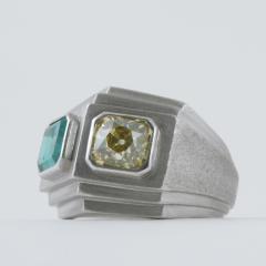 Trabert Hoeffer Mauboussin Trabert Hoeffer Mauboussin Art Deco Yellow Diamond Emerald and Platinum Ring - 1099772