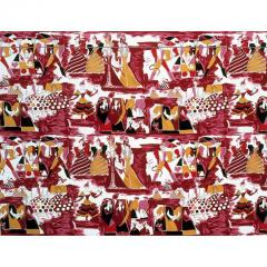Tre 80 Gio Ponti Designed Balletto alla Scala Fabric by Tre 80 in burgundy  - 768689