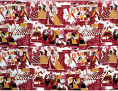 Tre 80 Gio Ponti Designed Balletto alla Scala Fabric by Tre 80 in burgundy  - 773295