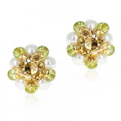 Trianon CULTURED PEARL DIAMOND AND PERIDOT EARRINGS MADE IN 18K GOLD BY TRIANON - 2031128