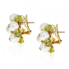 Trianon CULTURED PEARL DIAMOND AND PERIDOT EARRINGS MADE IN 18K GOLD BY TRIANON - 2031129