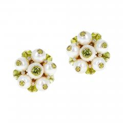 Trianon CULTURED PEARL DIAMOND AND PERIDOT EARRINGS MADE IN 18K GOLD BY TRIANON - 2031656