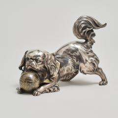 Unno Shomin A Japanese silver Okimono of a dog - 1273899