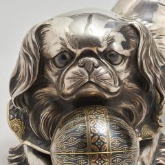 Unno Shomin A Japanese silver Okimono of a dog - 1273903