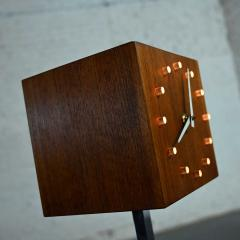 V H Woolums MCM walnut chrome cube clock lamp on stand by v h woolums - 2066174