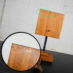 V H Woolums MCM walnut chrome cube clock lamp on stand by v h woolums - 2066183