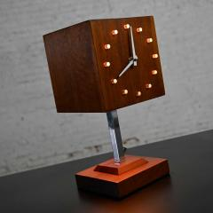 V H Woolums MCM walnut chrome cube clock lamp on stand by v h woolums - 2066193