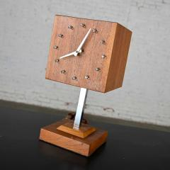 V H Woolums MCM walnut chrome cube clock lamp on stand by v h woolums - 2066194
