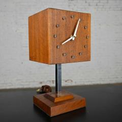 V H Woolums MCM walnut chrome cube clock lamp on stand by v h woolums - 2066195