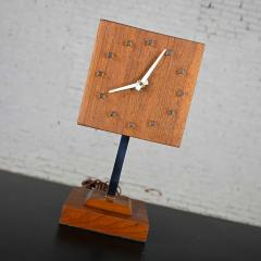 V H Woolums MCM walnut chrome cube clock lamp on stand by v h woolums - 2066197