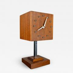 V H Woolums MCM walnut chrome cube clock lamp on stand by v h woolums - 2069009